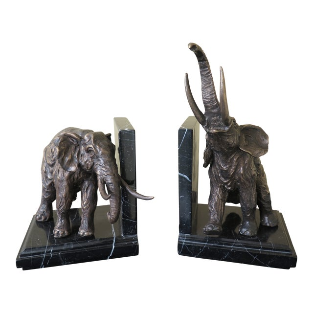 Traditional Signature Statuary Bronze & Marble Elephant Bookends - a Pair For Sale