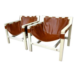 1970s Vintage Italian Safari Brown Leather and White Lacquered Chairs- a Pair For Sale