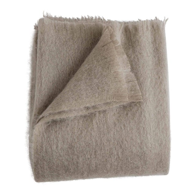 Mohair Throw in Ash For Sale