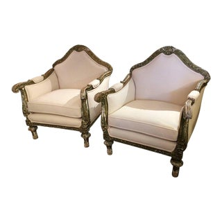 Grand French Louis XVI Club Chairs - a Pair