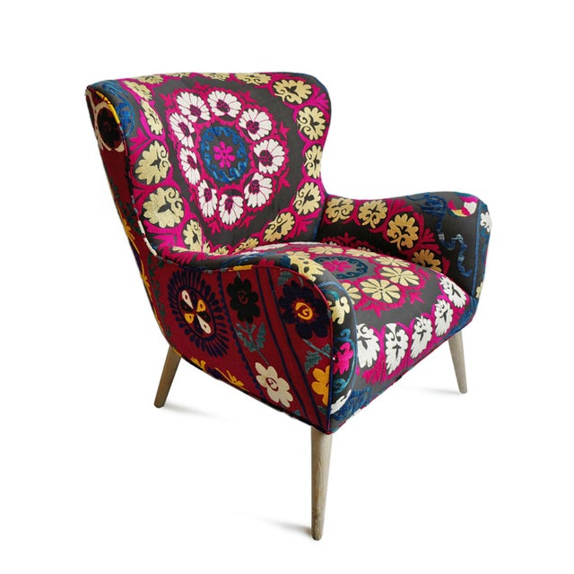 Stunning Zena Suzani upholstered arm chair. Beautiful original vintage suzani textiles with hand embroidered traditional...