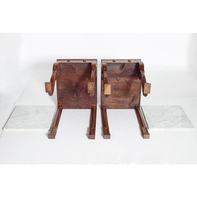A Pair of Charles X Style Mahogany Tables With White Marble Tops For Sale - Image 12 of 13