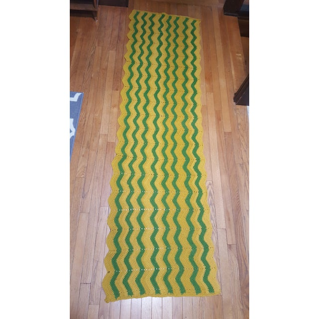 Vintage Handmade Crocheted Green/Yellow Striped Afghan Throw Blanket - Image 2 of 7