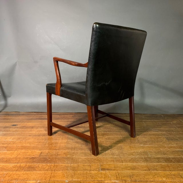 Mid-Century Modern Jacob Kjær 1940s Leather and Mahogany Armchair, Denmark For Sale - Image 3 of 10