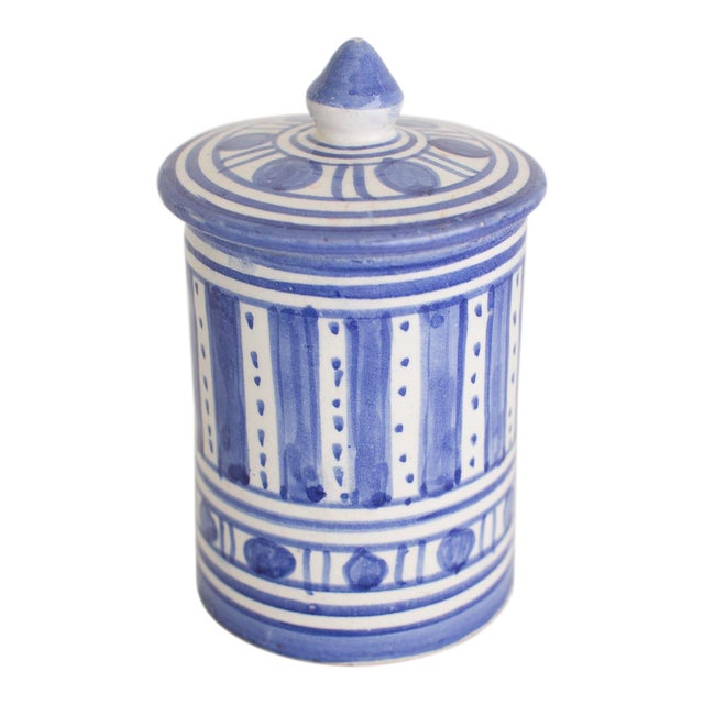 Hand Painted Moroccan Jar With Lid For Sale