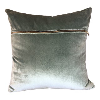 Big Lush Throw Pillow in Edgy Seaglass Velour For Sale