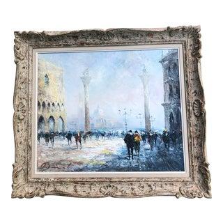 Original Vintage Impressionist Painting Venice Street Scene Signed For Sale