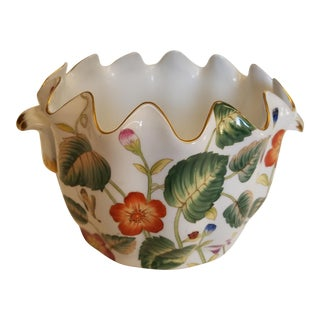 Old Paris Style Handled Floral and Gold Round Cachepot