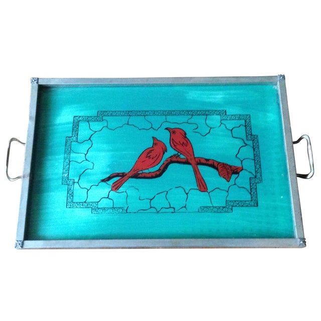 Vintage Glass-Top Painted Bird Tray - Image 1 of 11