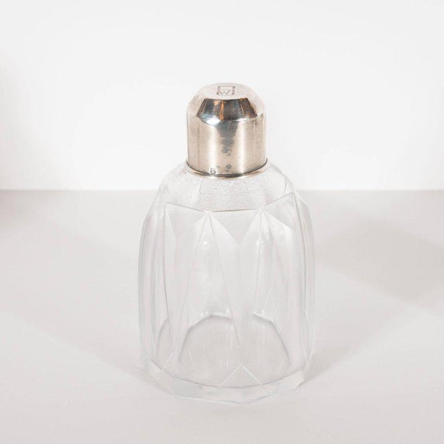 Art Deco Art Deco Skyscraper Style Sterling Silver & Geometric Beveled Glass Perfume Set For Sale - Image 3 of 9