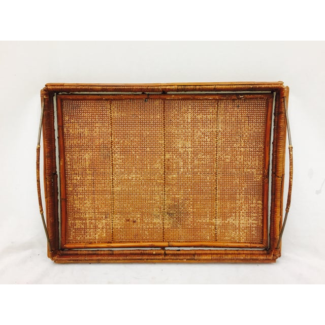 Boho Chic Vintage Woven Cane & Brass Serving Tray For Sale - Image 3 of 9