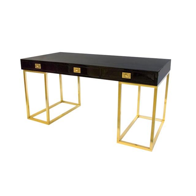 A Very Rare Black Lacquer Guy Lefevre for Desk for Jansen on open brass legs.
