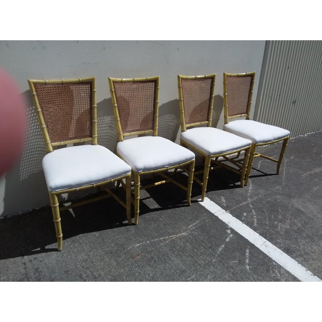 Set of Four Mid Century Modern Faux Bamboo Side Chairs For Sale - Image 4 of 10