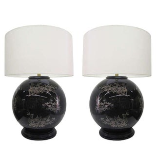 Midcentury Glass Japanese Style Table Lamps - Pair For Sale