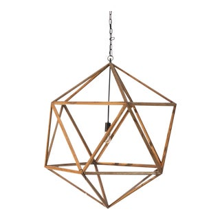 Natural Wooden Polyhedron Chandelier For Sale