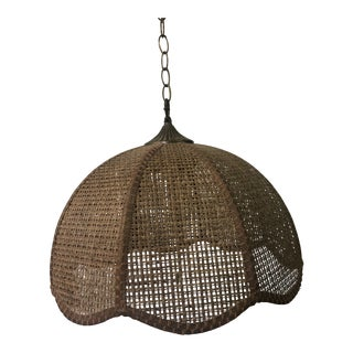 Mid Century Hanging Rattan Lamp For Sale