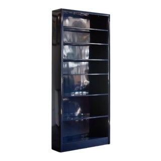 Tall Steel Tanker Bookcase Refinished in Navy Blue For Sale