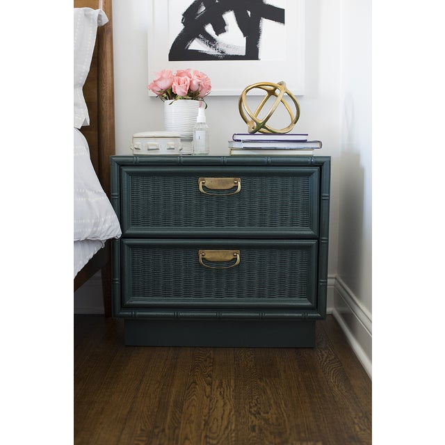 Teal Bamboo Lacquered Nightstand - Image 5 of 7