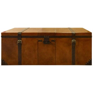 Rustic Rectangular Leather Storage Coffee Table/Trunk For Sale