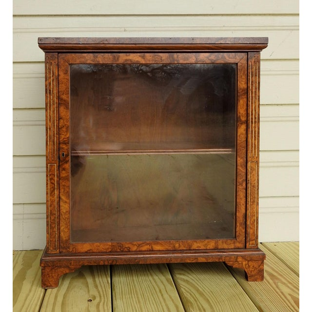 Neoclassical Burl Walnut Table Top Display Cabinet For Sale - Image 11 of 11
