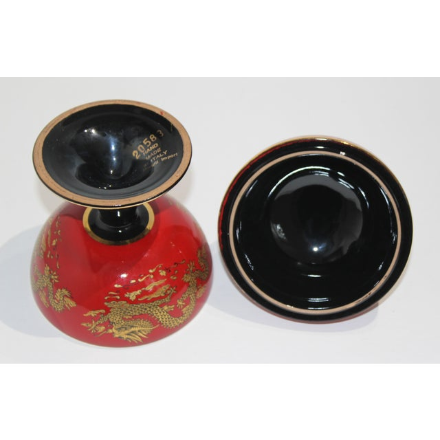 Ceramic Mid-Cnntury Chinese Emperor Dragon Motif Red Footed Round Box From Heygill Italy For Sale - Image 7 of 9