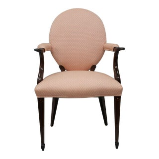 Solid Mahogany Pencil Inlaid Sheraton Style Arm Chair Dining Pink Round Back For Sale