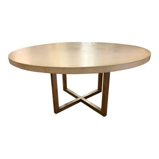 Custom Design Round Concrete + Steel Base Table For Sale