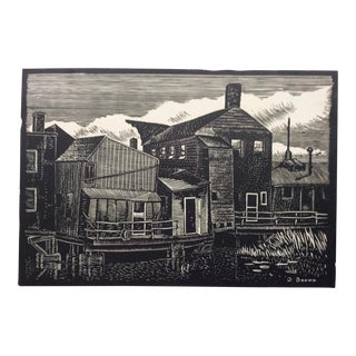 Lowell Waterfront Woodcut by Donald Brown 1930s For Sale
