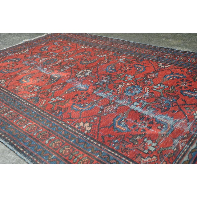 """Antique Hand Knotted Persian Floral Design Rug - 3'6"""" X 4'8"""" For Sale - Image 10 of 11"""