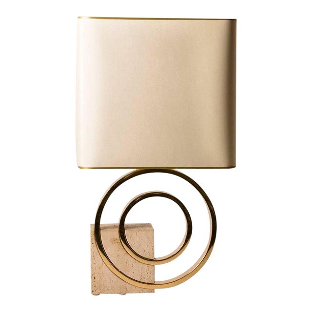 French Mid-Century Geometric Brass and Stone Table Lamp - Image 1 of 3