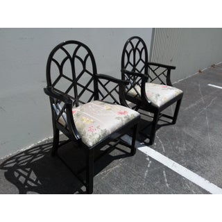 Lattice Work Back Black Arm Chairs - a Pair Preview