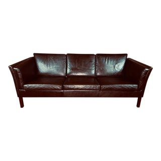 Vintage Mid Century Danish Modern Tobacco Brown Leather 3 Seat Sofa For Sale