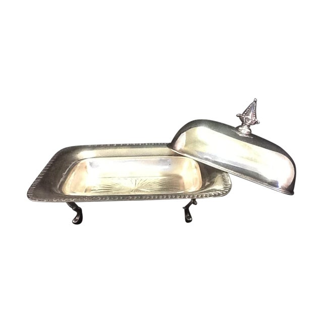 Vintage Silver Plated Footed Butter Dish - Image 1 of 5