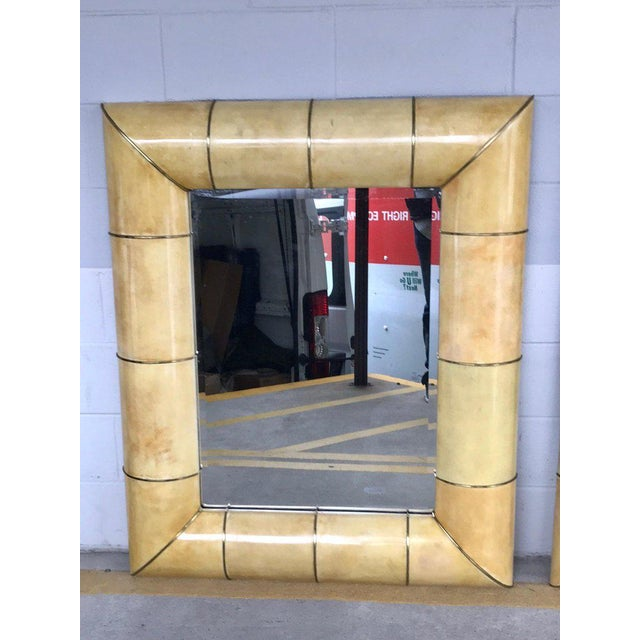 Large Modern Parchment and Brass Mirror For Sale - Image 9 of 9