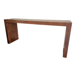 20th Century Minimalist Milo Baughman Burl Console Table For Sale