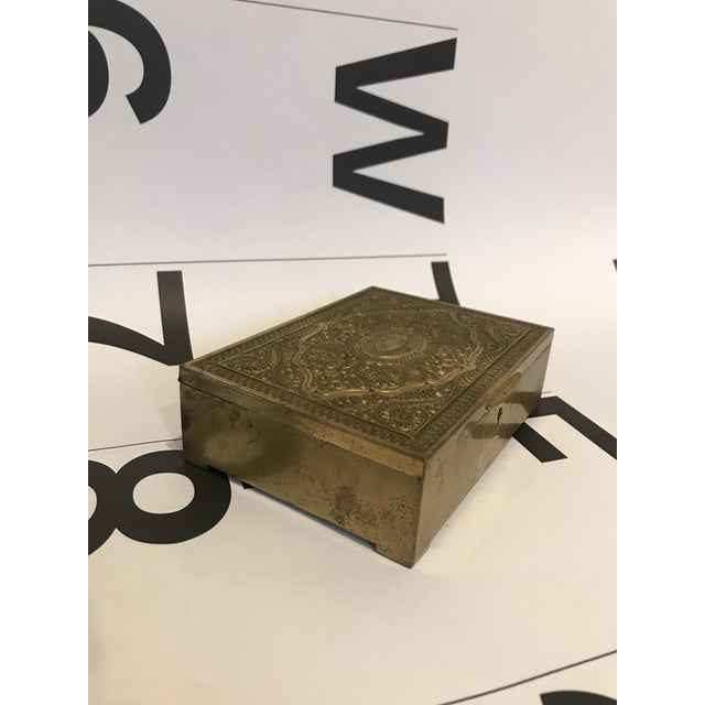 Vintage Brass Clad Trinket/Jewelry Box For Sale - Image 4 of 7