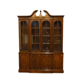 "Wellington Hall Traditional Style Flame Mahogany 64"" Illuminated Display Breakfront China Cabinet For Sale"
