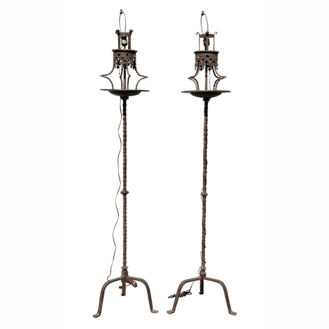 Metal Italian Wrought Iron Torcheres - a Pair For Sale - Image 7 of 7
