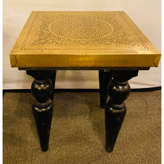 Moroccan End Tables in Fine Gold Brass & Carved Legs - a Pair For Sale - Image 10 of 13