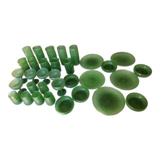 Thirty Three Pieces of Green Art Glass For Sale