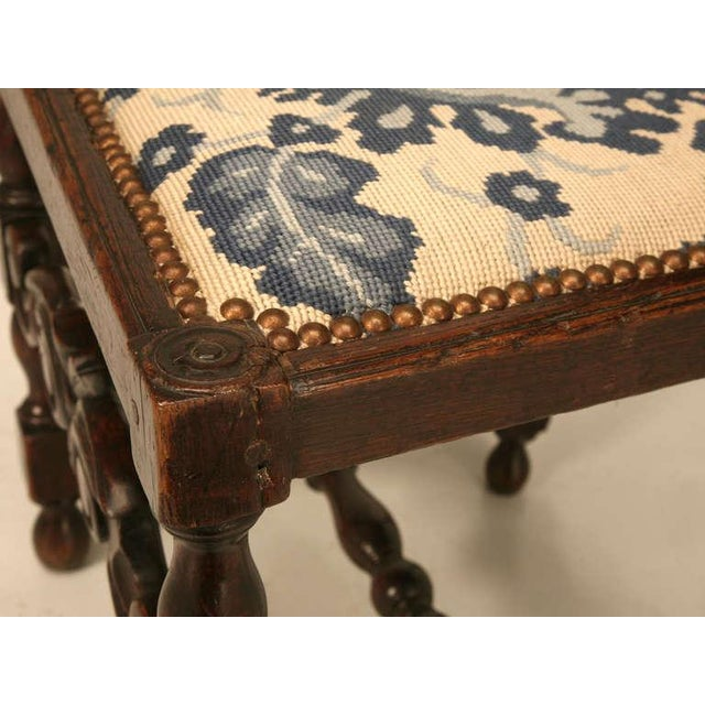 Antique French Hand Carved Needlepoint Seat Side Chair For Sale - Image 9 of 10