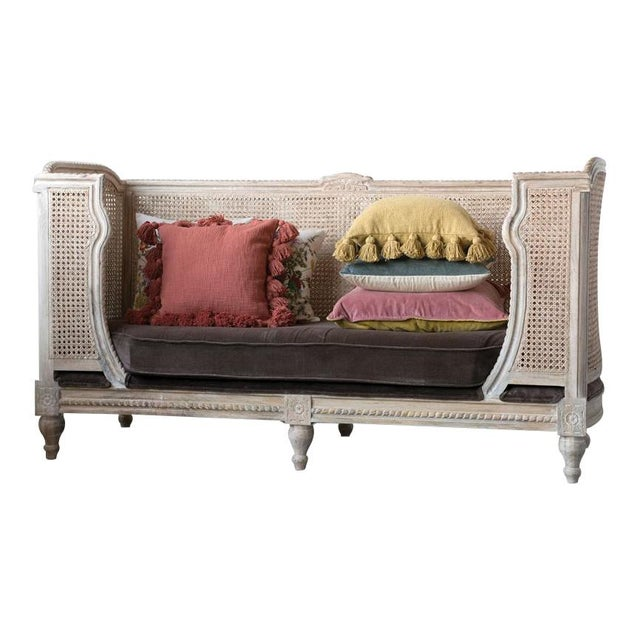 French Style Caned Day Bed With Velvet Cushion For Sale - Image 4 of 5