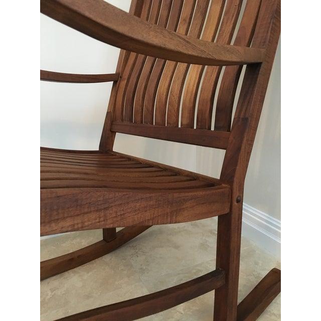 2000s Americana Cambridge Teak Rocking Chair For Sale In Miami - Image 6 of 13
