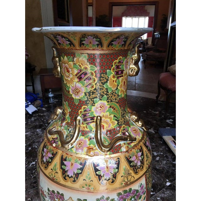 Ceramic Tall Chinese Vases with Decorative Scenes, 20th Century - A Pair For Sale - Image 7 of 13