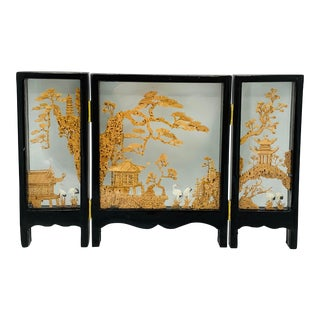 1970s Chinoiserie Landscape Carved Cork Sculptural Tabletop Screen For Sale