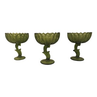 Set of Three Vintage Indiana Glass Company Lotus Blossom Compote Bowls For Sale