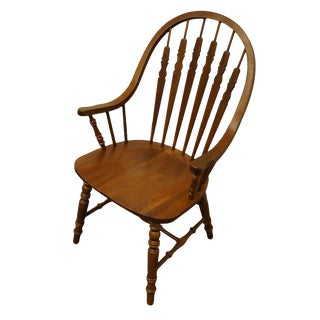 Richardson Brothers Solid Cherry Windsor Bow Back Arm Chair For Sale