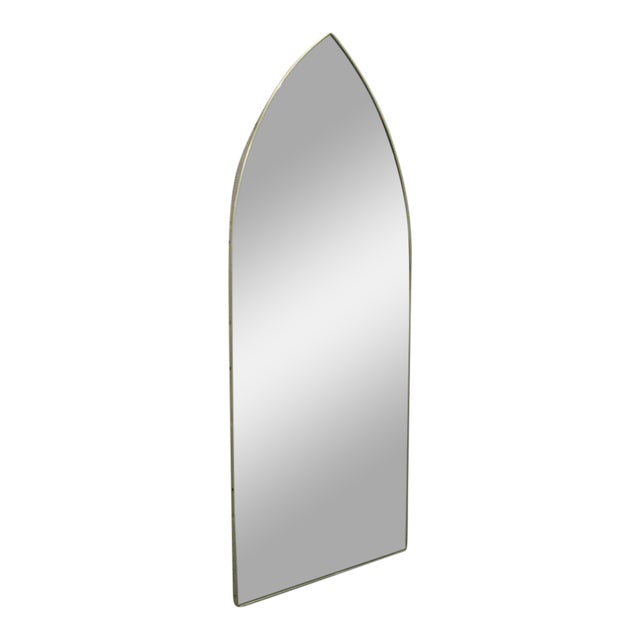 Italian Modernist Arched Mirror w/ Brass Frame - Image 1 of 3