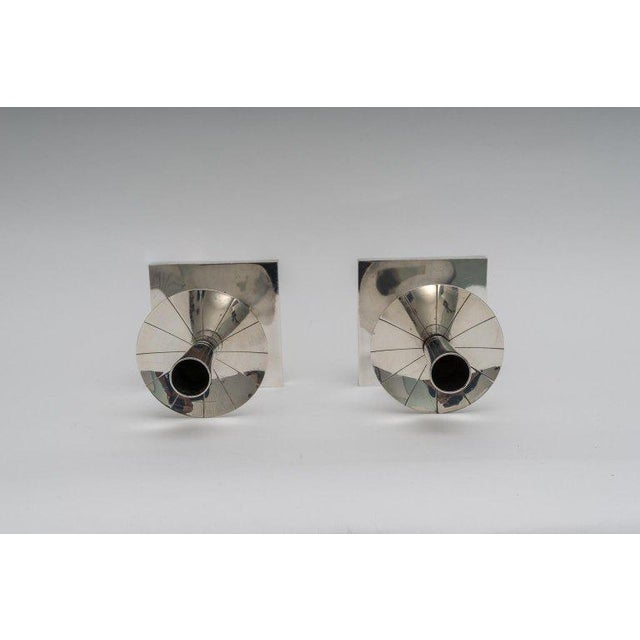 Mid-Century Modern Silver Plated Candlesticks by Tommy Parzinger - a Pair For Sale - Image 3 of 13