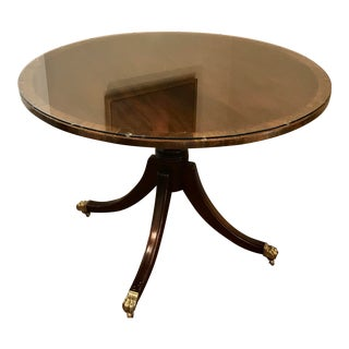 Traditional Baker Pedestal Table With Brass Claw Feet For Sale